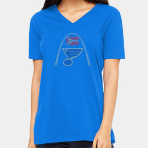 Bella St. Louis Blues Rhinestone Ladies' Relaxed Jersey Short-Sleeve V-Neck T-Shirt Thumbnail
